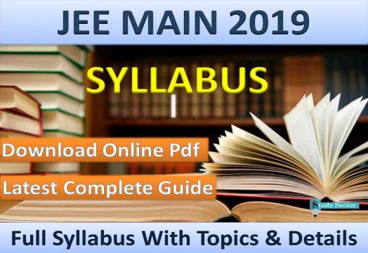 JEE Mains Syllabus 2018 PDF