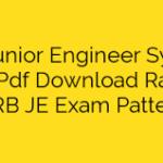 RRB JE Syllabus PDF 2019