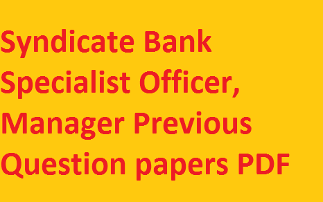 Syndicate Bank Previous Papers